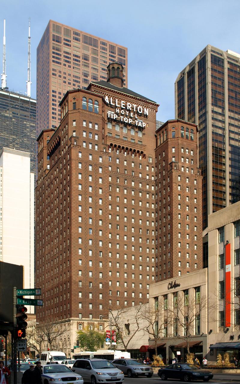 the allerton hotel chicago the skyscraper center. Black Bedroom Furniture Sets. Home Design Ideas